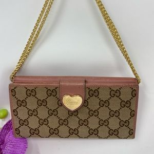 Authentic Preowned Gucci Pink Heart Logo Wallet